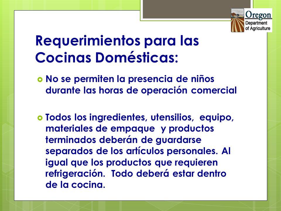 Requerimientos para las Cocinas Domésticas: