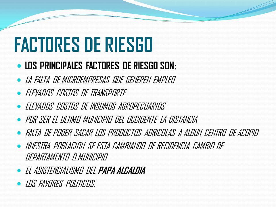 FACTORES DE RIESGO LOS PRINCIPALES FACTORES DE RIESGO SON:
