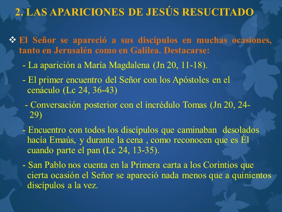 2. LAS APARICIONES DE JESÚS RESUCITADO