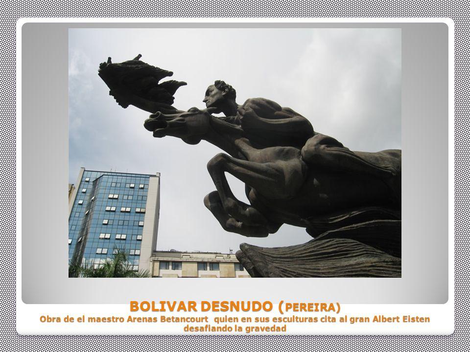 BOLIVAR DESNUDO (PEREIRA) Obra de el maestro Arenas Betancourt quien en sus esculturas cita al gran Albert Eisten desafiando la gravedad