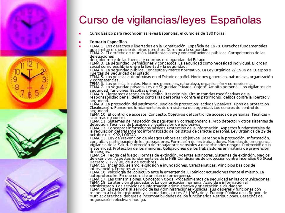 Curso de vigilancias/leyes Españolas