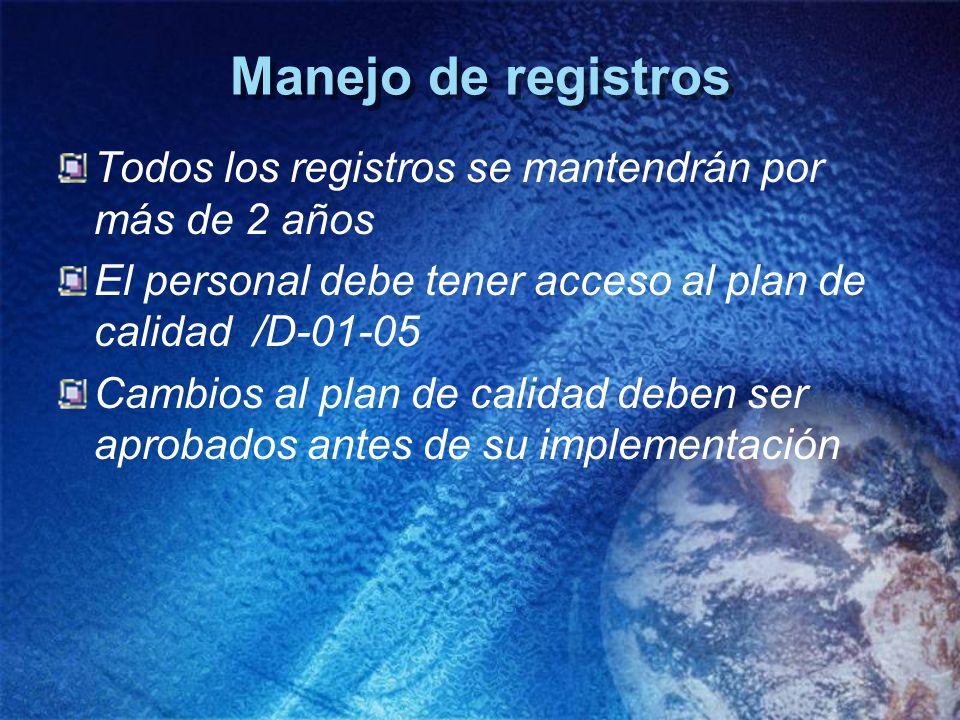 Manejo de registros Todos los registros se mantendrán por más de 2 años. El personal debe tener acceso al plan de calidad /D-01-05.