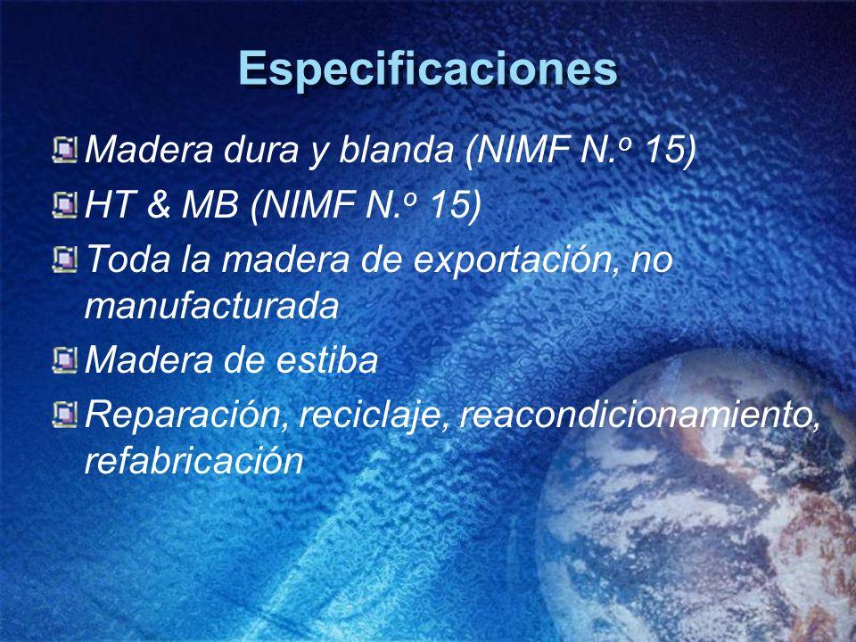 Especificaciones Madera dura y blanda (NIMF N.o 15)