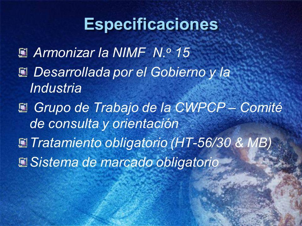 Especificaciones Armonizar la NIMF N.o 15