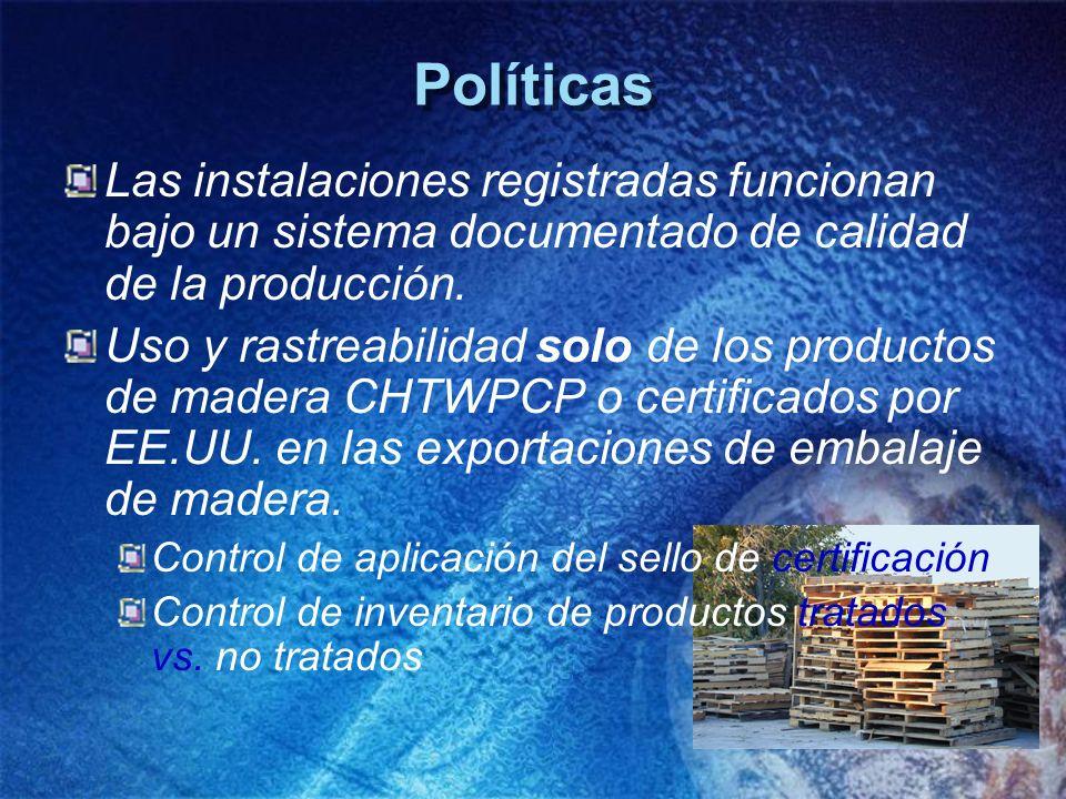 Políticas Las instalaciones registradas funcionan bajo un sistema documentado de calidad de la producción.