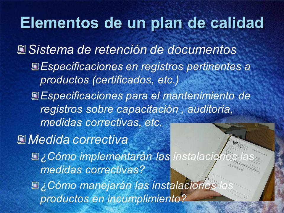 Elementos de un plan de calidad