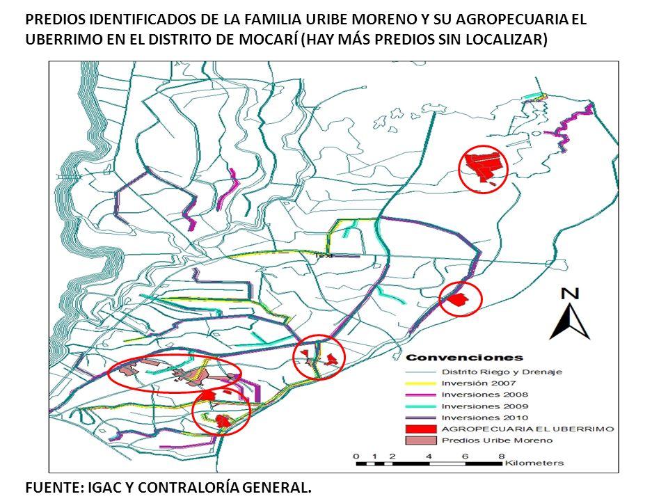 PREDIOS IDENTIFICADOS DE LA FAMILIA URIBE MORENO Y SU AGROPECUARIA EL UBERRIMO EN EL DISTRITO DE MOCARÍ (HAY MÁS PREDIOS SIN LOCALIZAR)