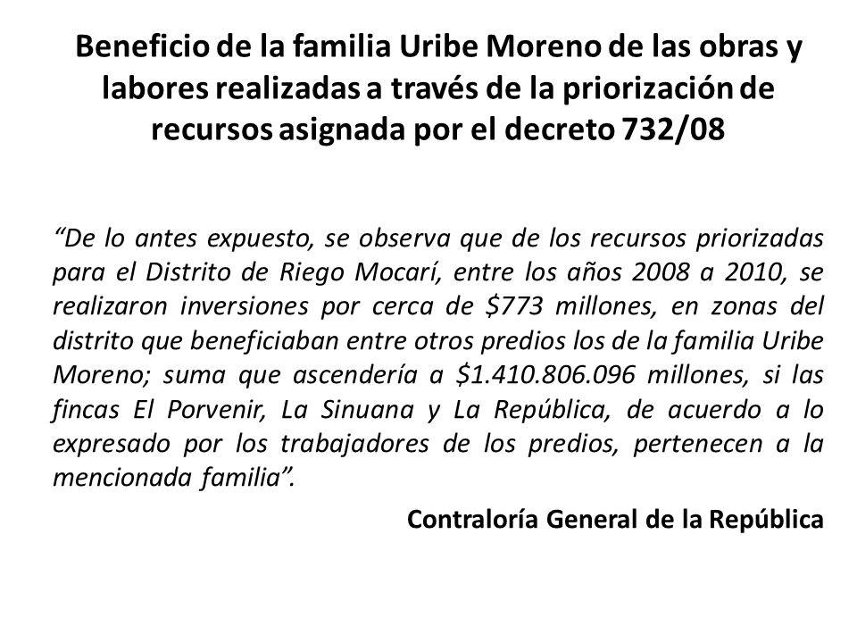 Beneficio de la familia Uribe Moreno de las obras y labores realizadas a través de la priorización de recursos asignada por el decreto 732/08