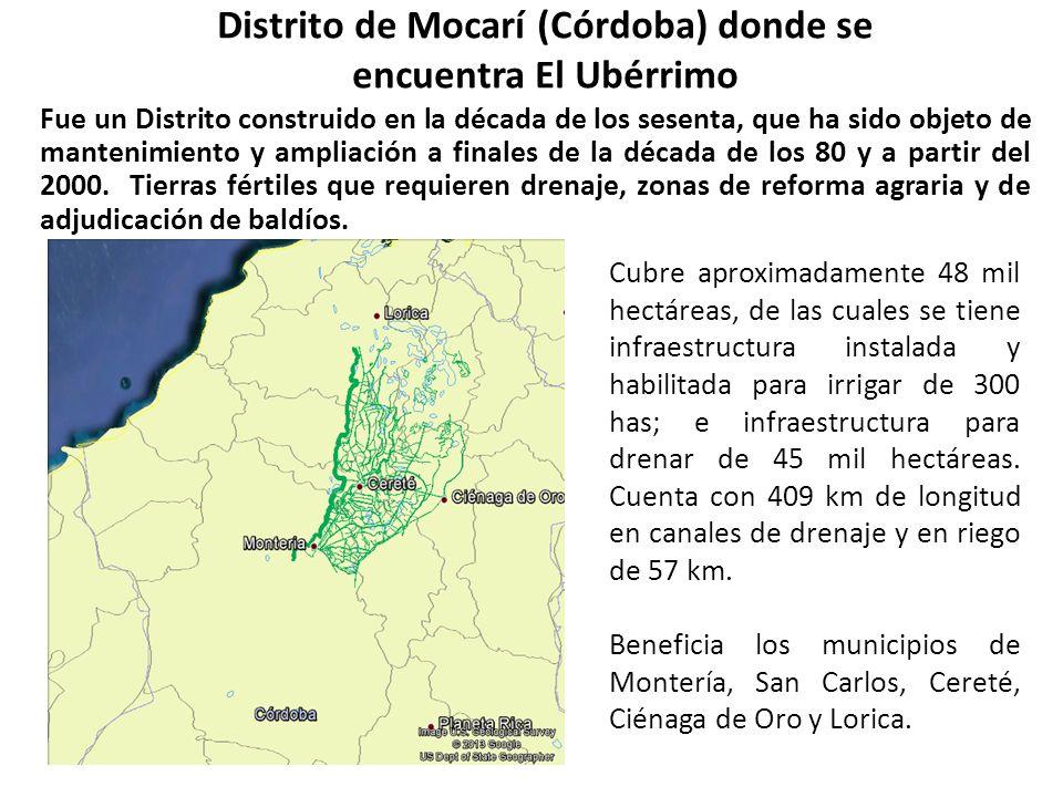 Distrito de Mocarí (Córdoba) donde se encuentra El Ubérrimo