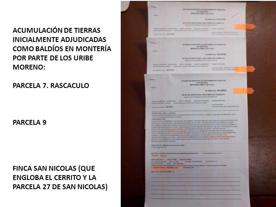 ACUMULACIÓN DE TIERRAS INICIALMENTE ADJUDICADAS COMO BALDÍOS EN MONTERÍA POR PARTE DE LOS URIBE MORENO: