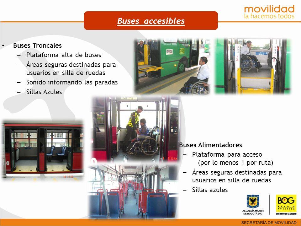 Buses accesibles Buses Troncales Plataforma alta de buses