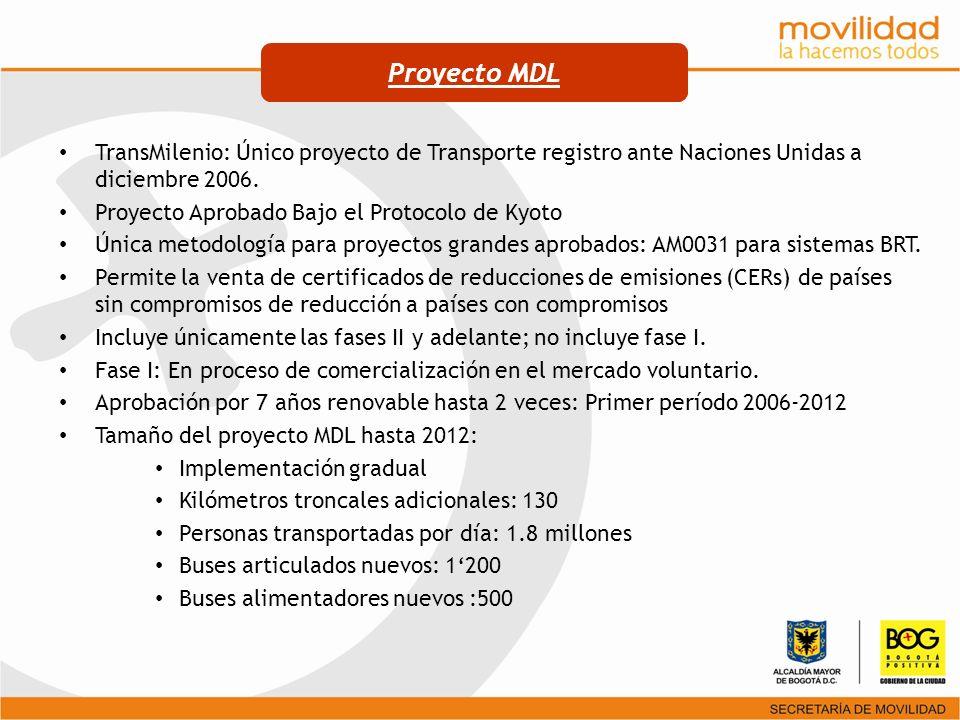 Proyecto MDL TransMilenio: Único proyecto de Transporte registro ante Naciones Unidas a diciembre 2006.