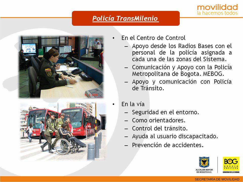 Policía TransMilenio En el Centro de Control