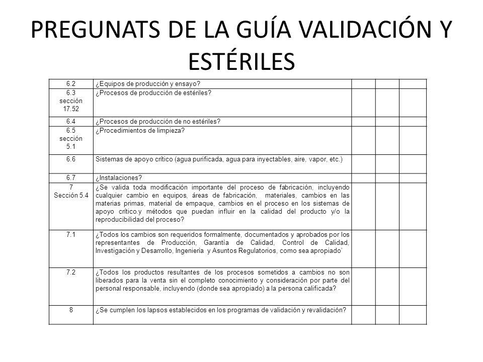 PREGUNATS DE LA GUÍA VALIDACIÓN Y ESTÉRILES