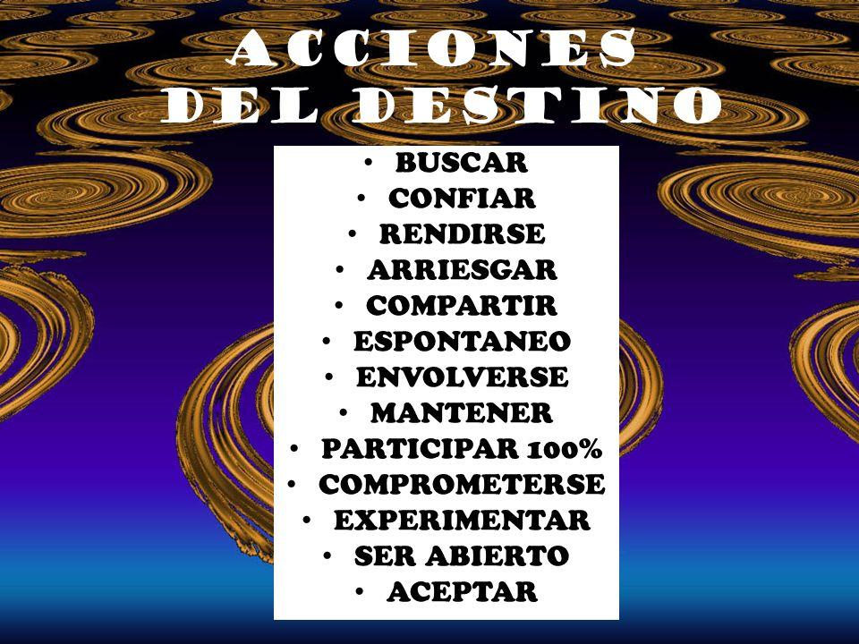 acciones del Destino BUSCAR CONFIAR RENDIRSE ARRIESGAR COMPARTIR