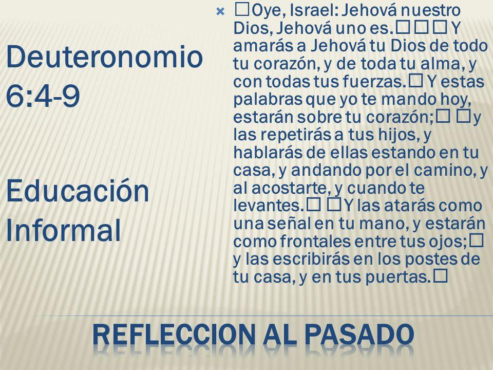 Deuteronomio 6:4-9 Educación Informal Refleccion al pasado