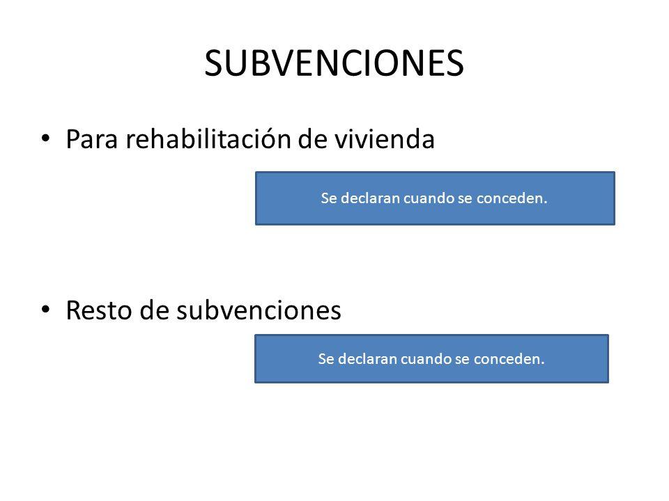 SUBVENCIONES Para rehabilitación de vivienda Resto de subvenciones