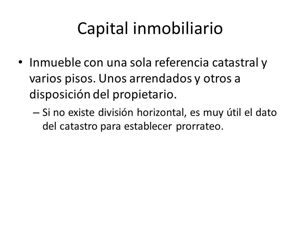 Capital inmobiliario Inmueble con una sola referencia catastral y varios pisos. Unos arrendados y otros a disposición del propietario.