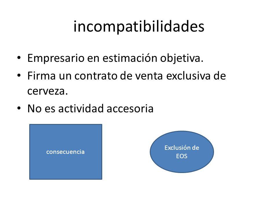 incompatibilidades Empresario en estimación objetiva.