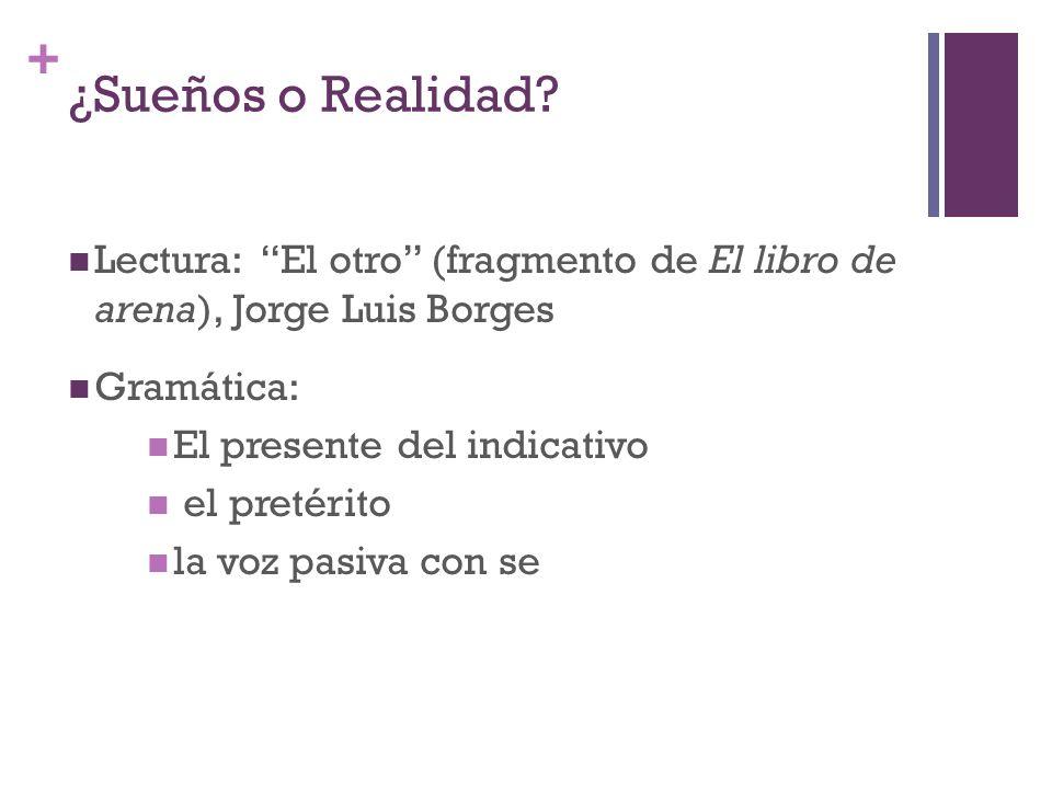 ¿Sueños o Realidad Lectura: El otro (fragmento de El libro de arena), Jorge Luis Borges. Gramática: