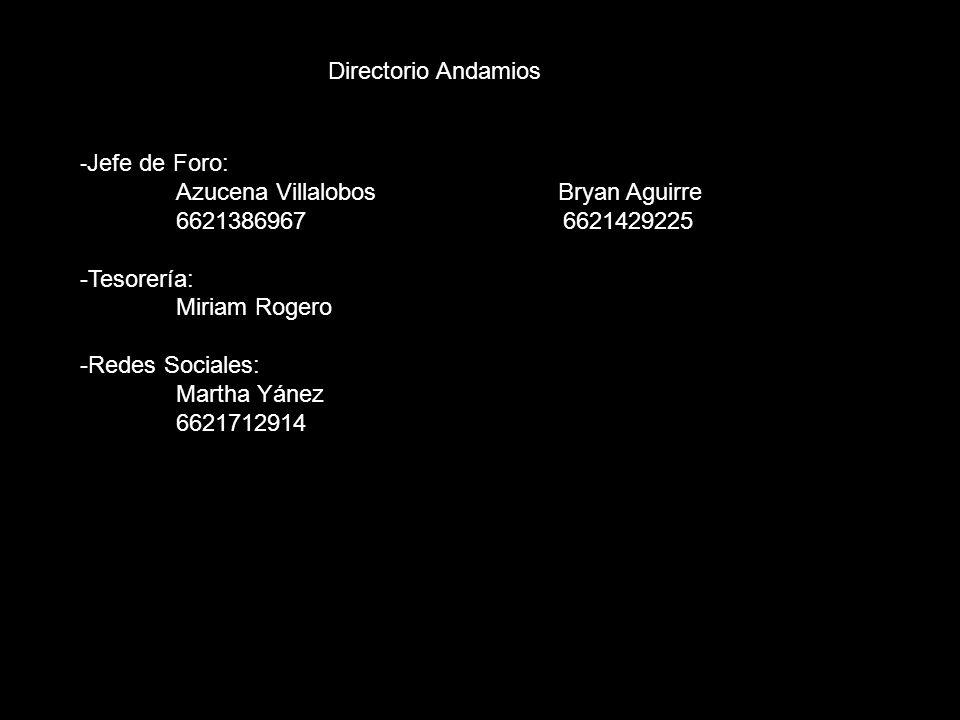 Directorio Andamios -Jefe de Foro: Azucena Villalobos Bryan Aguirre.