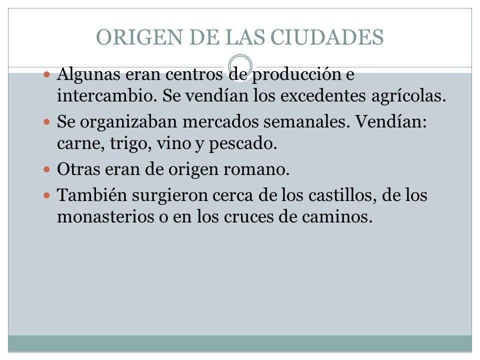 ORIGEN DE LAS CIUDADES Algunas eran centros de producción e intercambio. Se vendían los excedentes agrícolas.