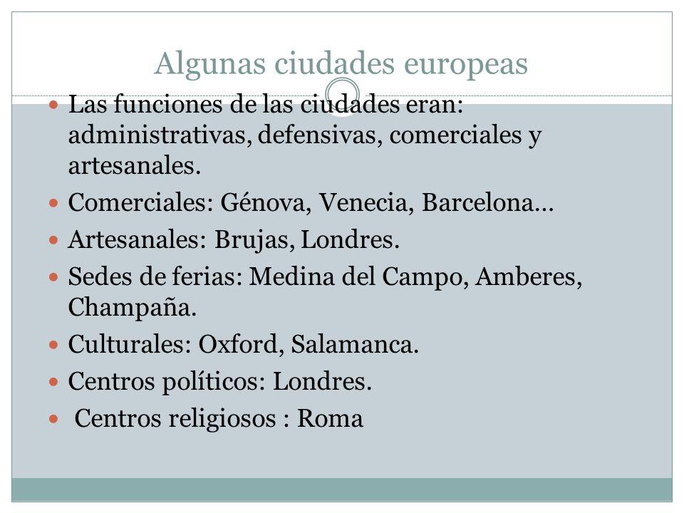 Algunas ciudades europeas