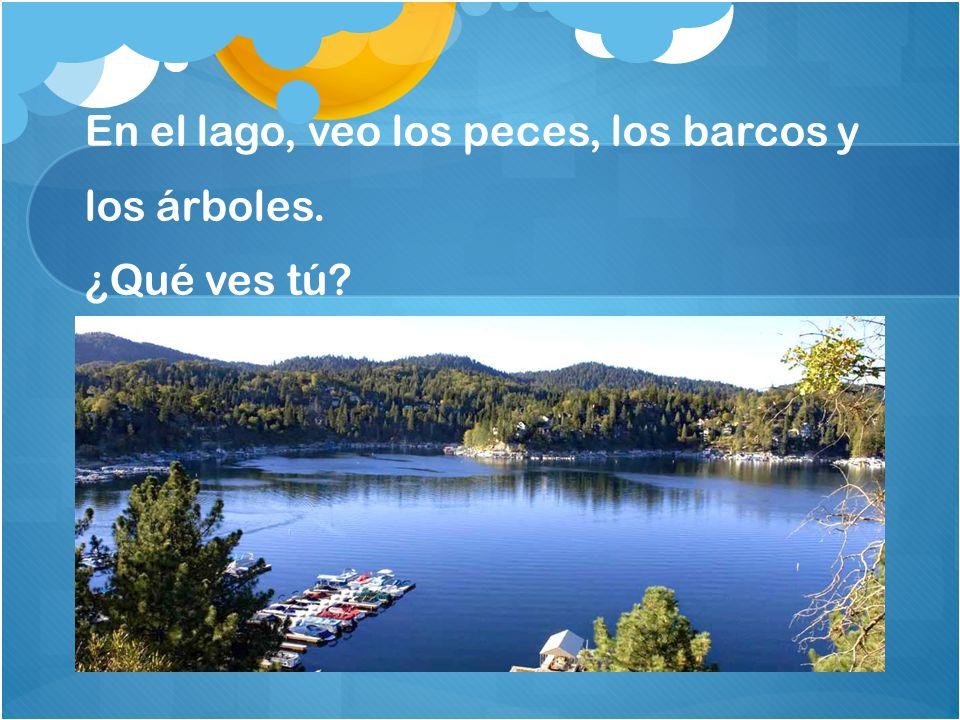 En el lago, veo los peces, los barcos y los árboles. ¿Qué ves tú