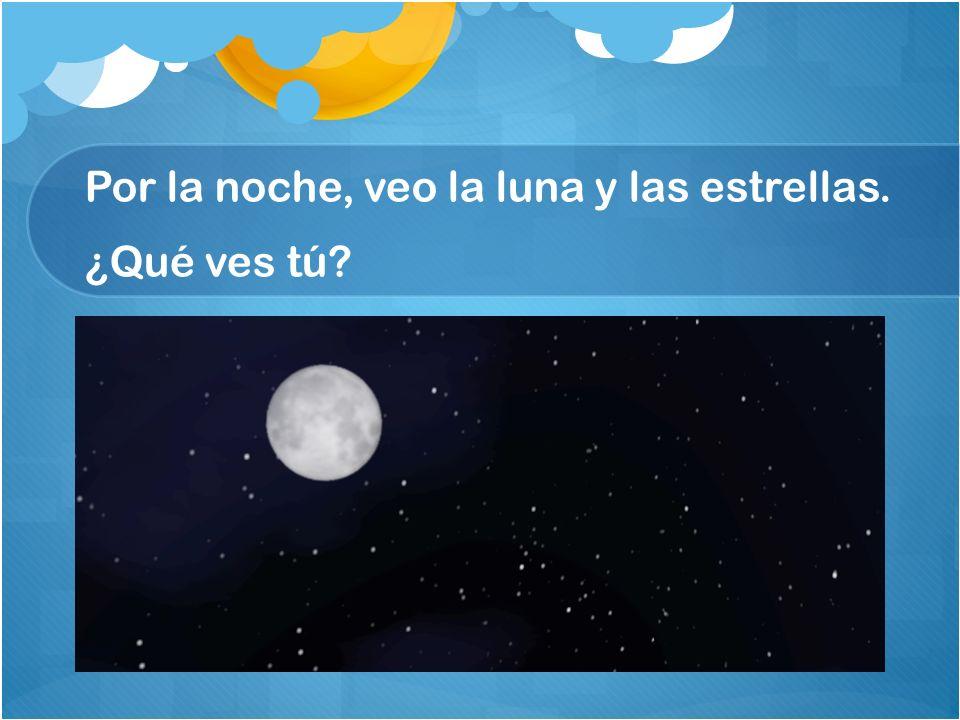 Por la noche, veo la luna y las estrellas. ¿Qué ves tú