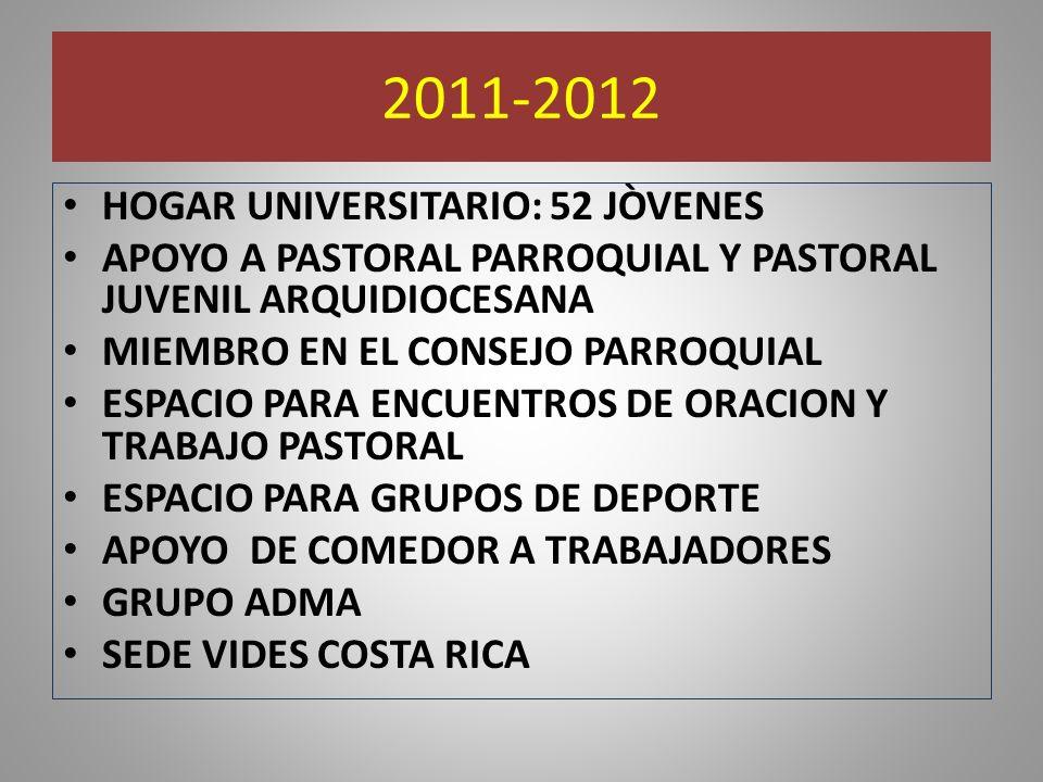 2011-2012 HOGAR UNIVERSITARIO: 52 JÒVENES