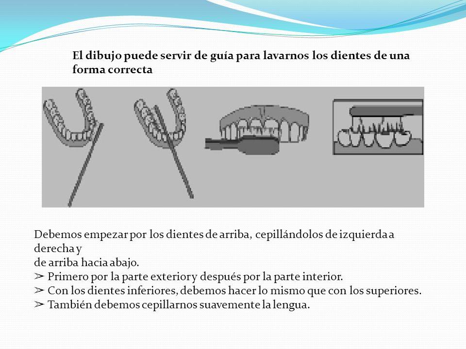 El dibujo puede servir de guía para lavarnos los dientes de una forma correcta