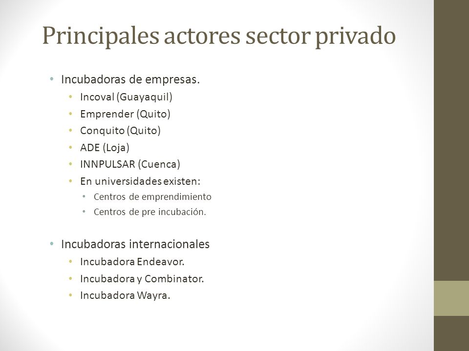 Principales actores sector privado