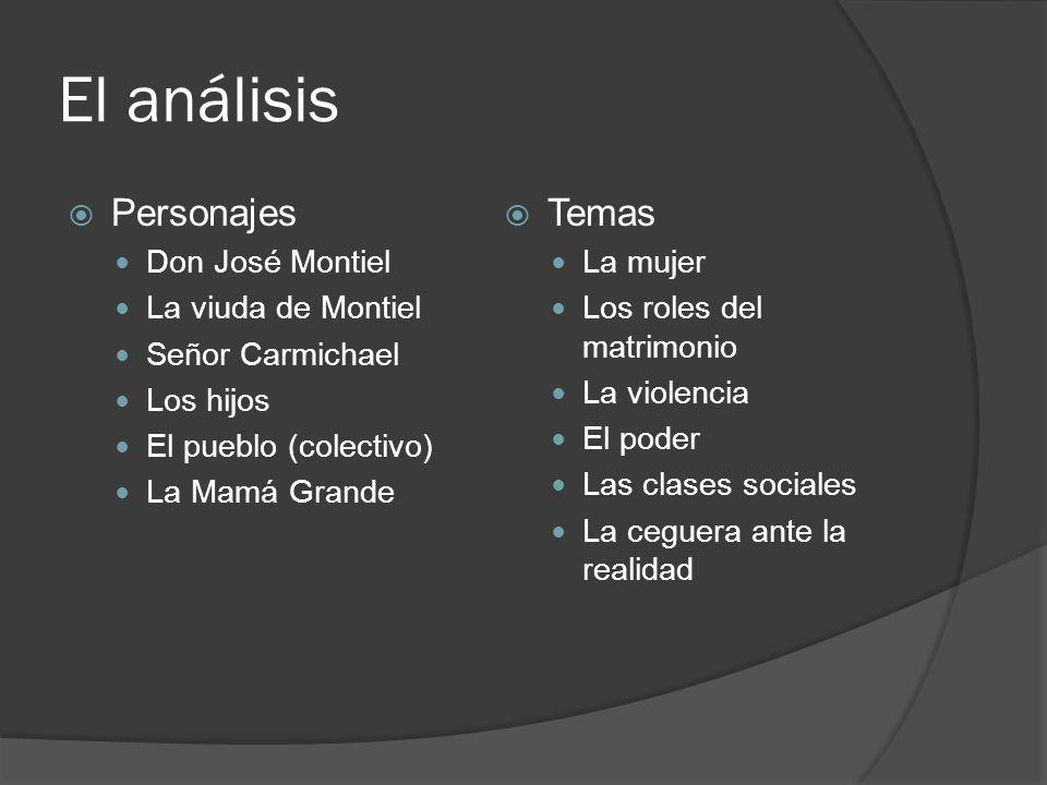El análisis Personajes Temas Don José Montiel La viuda de Montiel