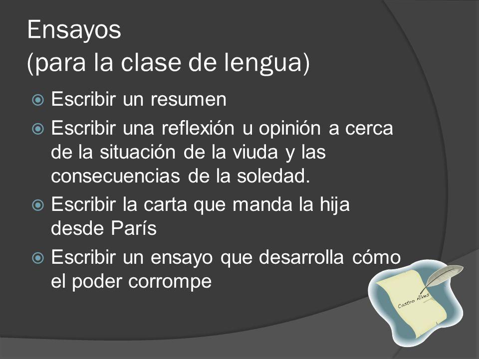 Ensayos (para la clase de lengua)
