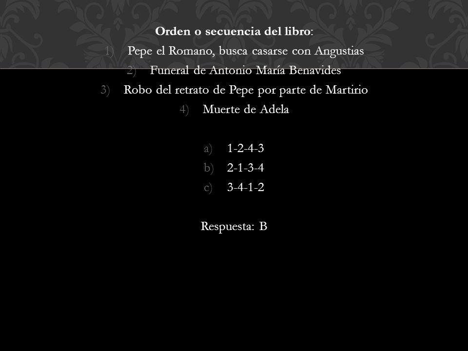 Orden o secuencia del libro: