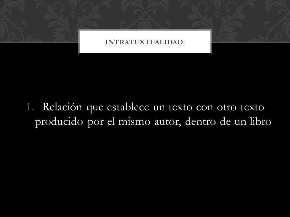 Intratextualidad: Relación que establece un texto con otro texto producido por el mismo autor, dentro de un libro.