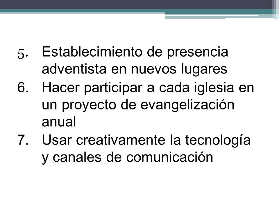 5. Establecimiento de presencia adventista en nuevos lugares