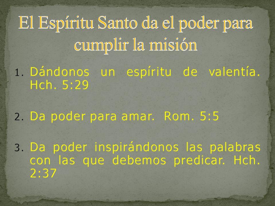 El Espíritu Santo da el poder para cumplir la misión