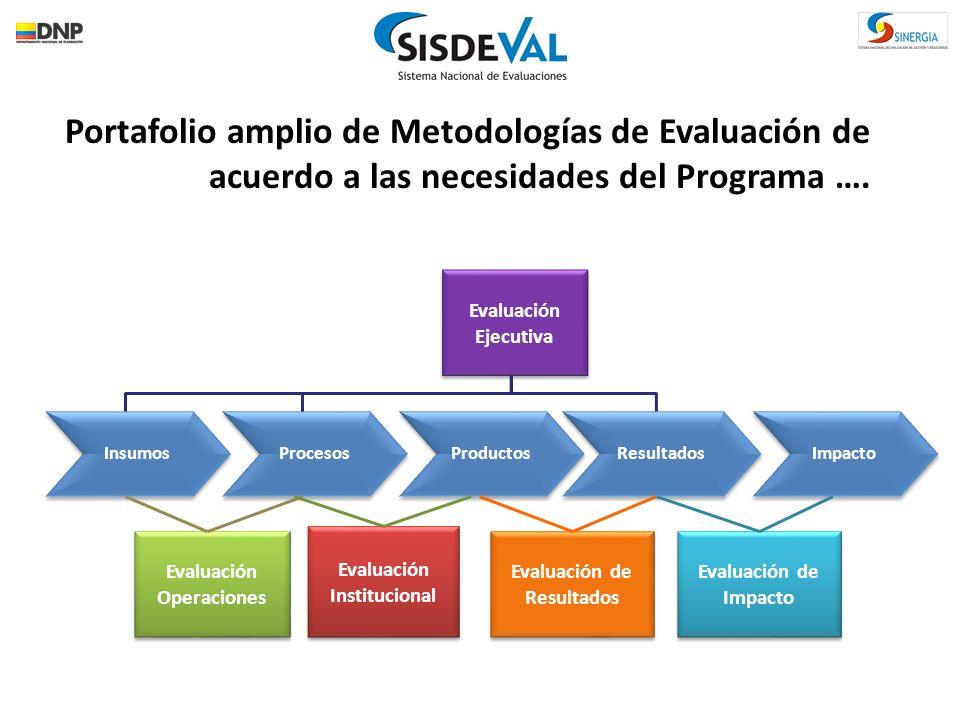 Portafolio amplio de Metodologías de Evaluación de acuerdo a las necesidades del Programa ….