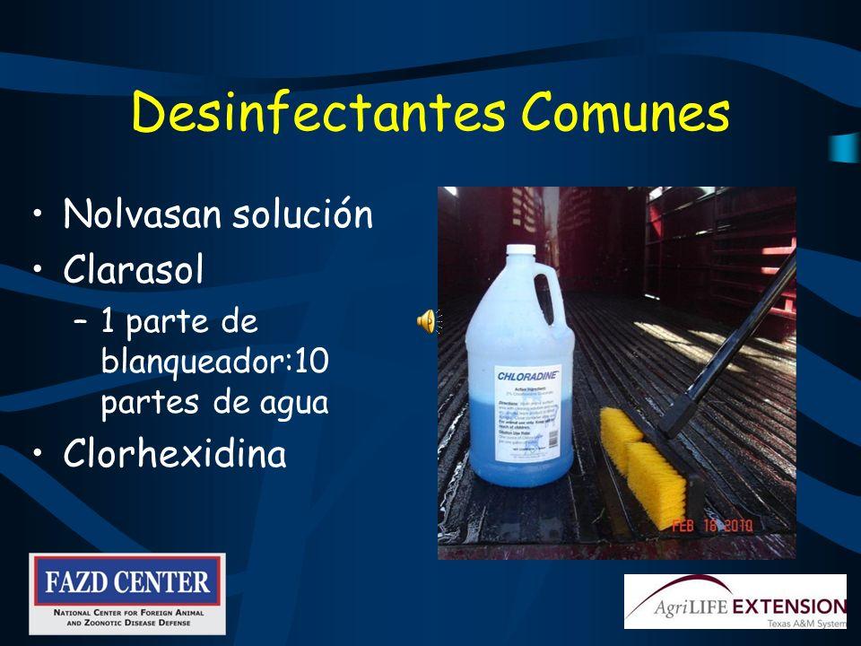 Desinfectantes Comunes