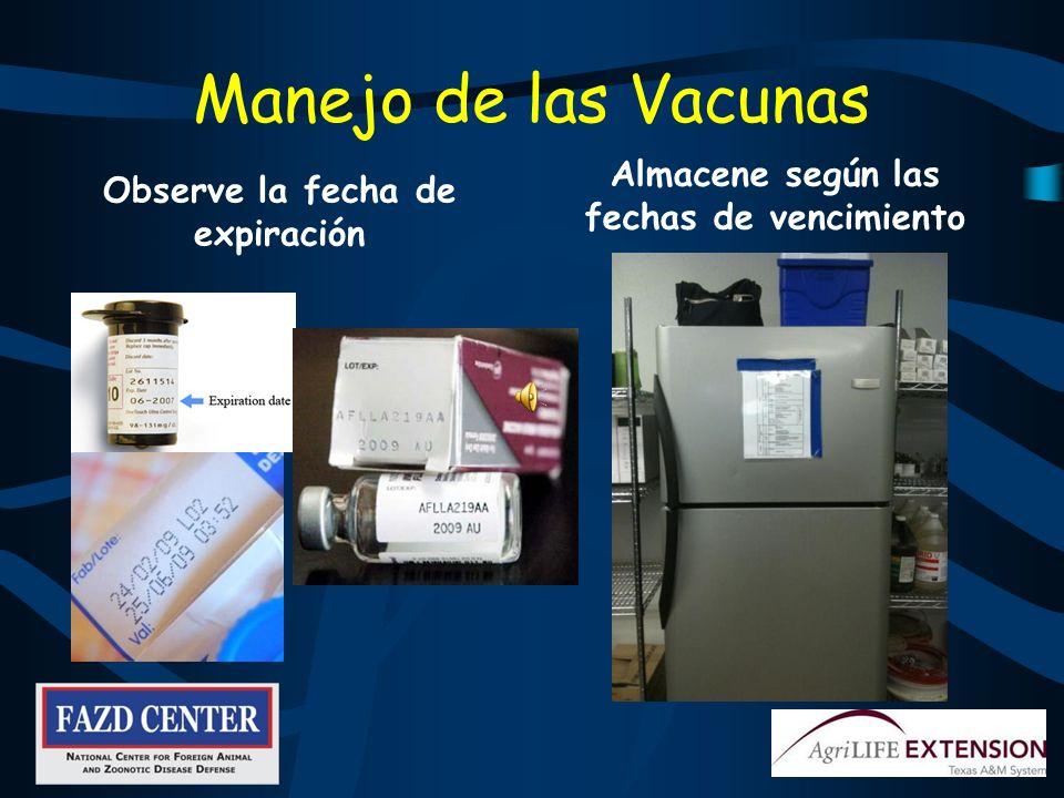 Manejo de las Vacunas Almacene según las fechas de vencimiento