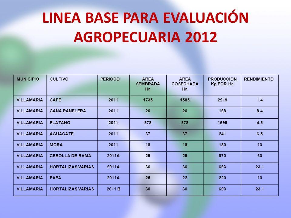 LINEA BASE PARA EVALUACIÓN AGROPECUARIA 2012