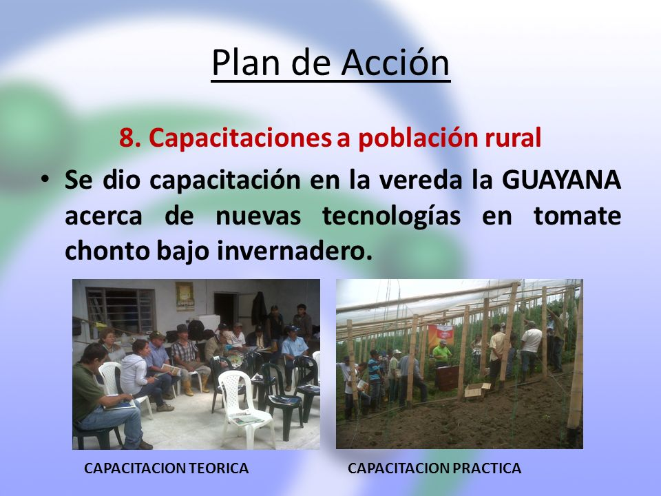 8. Capacitaciones a población rural