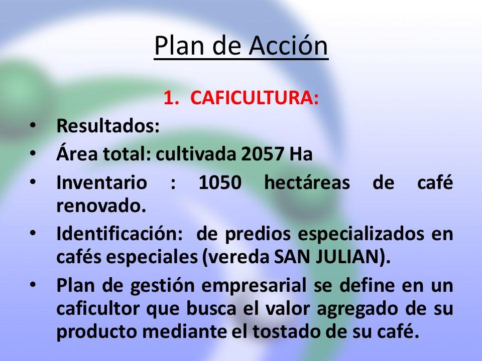 Plan de Acción CAFICULTURA: Resultados: Área total: cultivada 2057 Ha