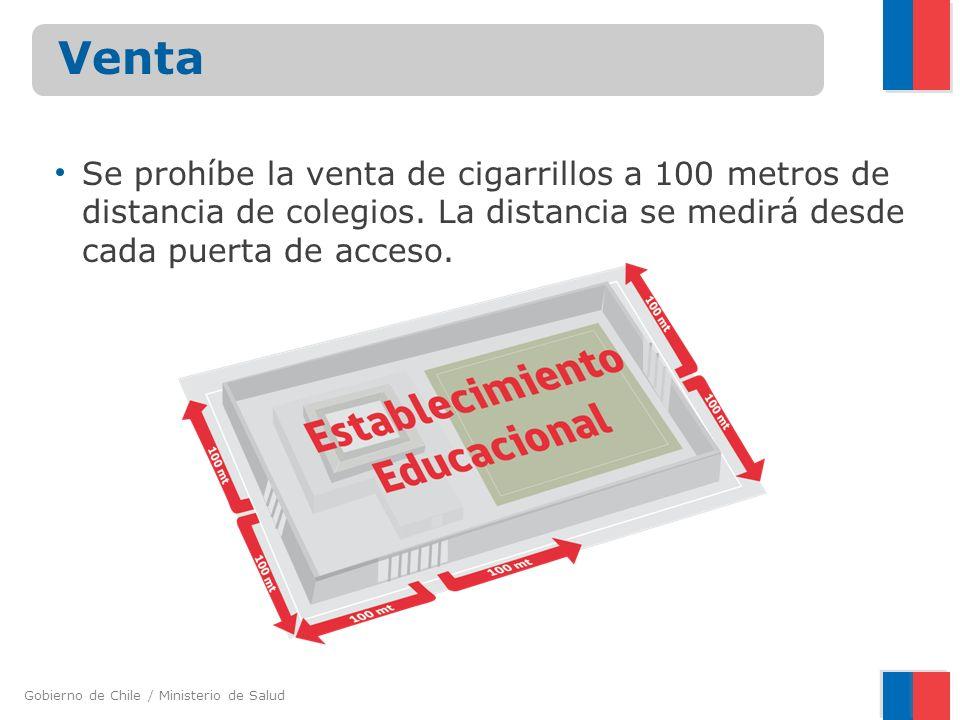 Venta Se prohíbe la venta de cigarrillos a 100 metros de distancia de colegios.