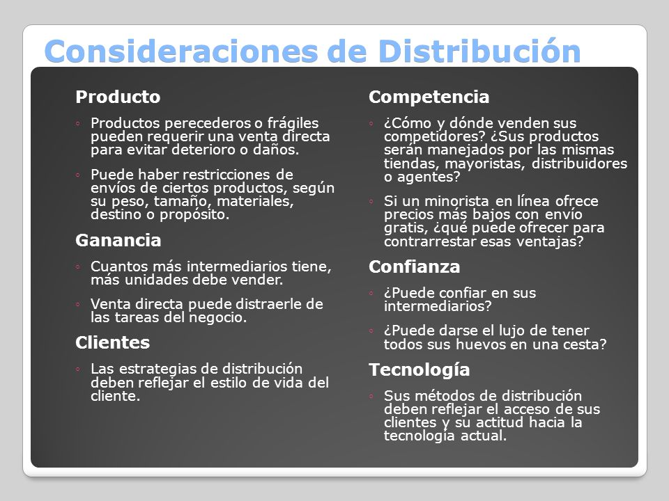 Consideraciones de Distribución