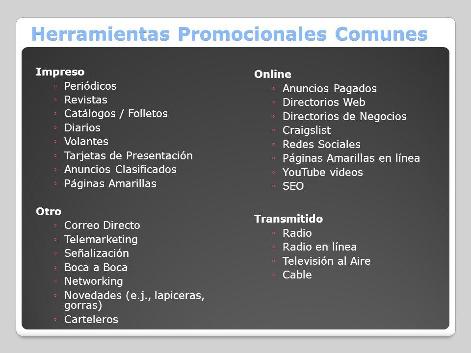 Herramientas Promocionales Comunes