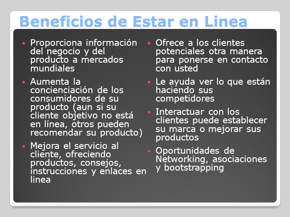 Beneficios de Estar en Linea