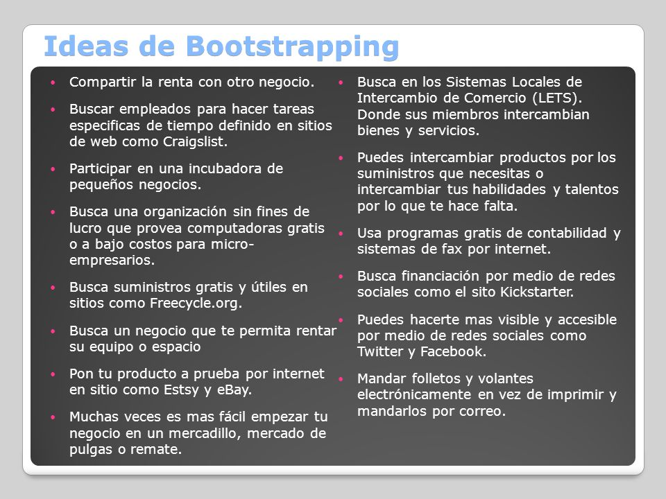 Ideas de Bootstrapping