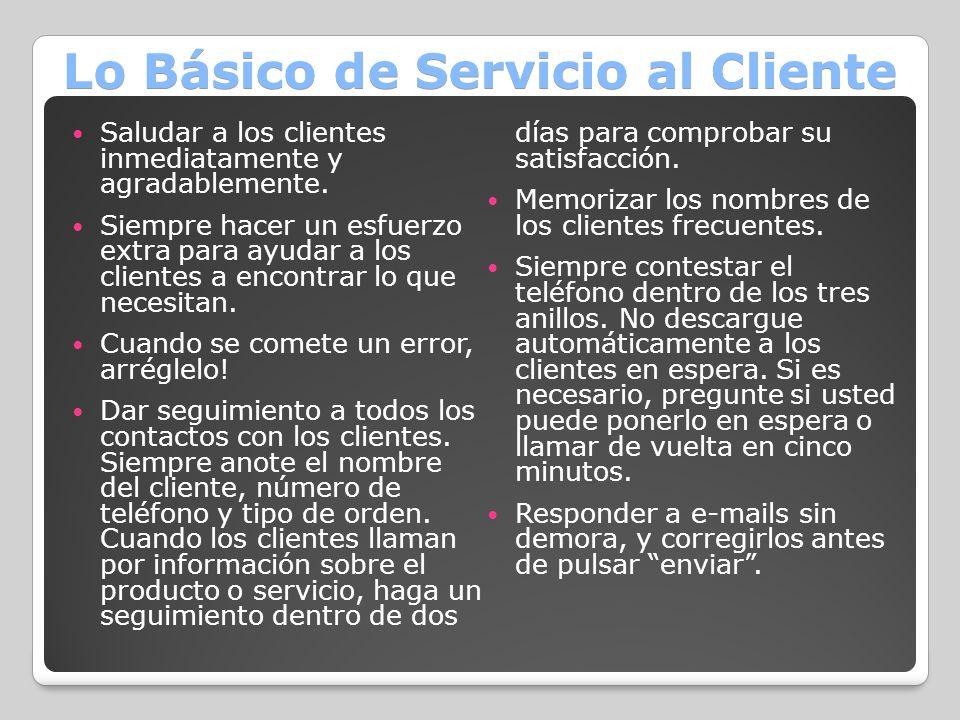 Lo Básico de Servicio al Cliente